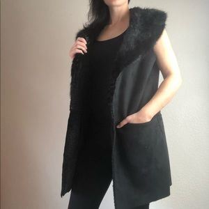 Steve Madden faux fur open front black vest sz m/l